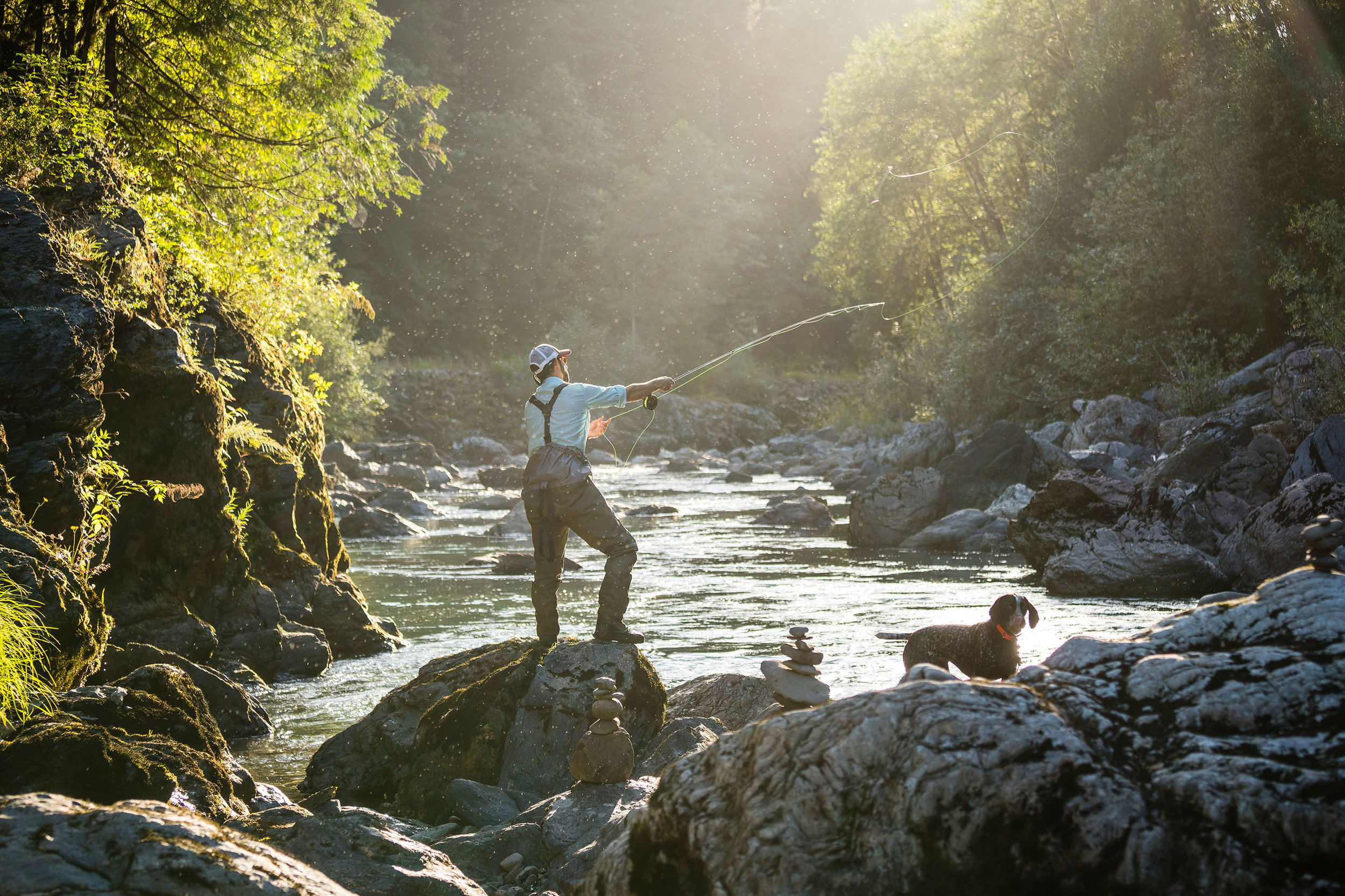 Lifestyle: Todd Penke fly fishing on the South Fork of the Stillaguamish River, Central Cascades, Washington