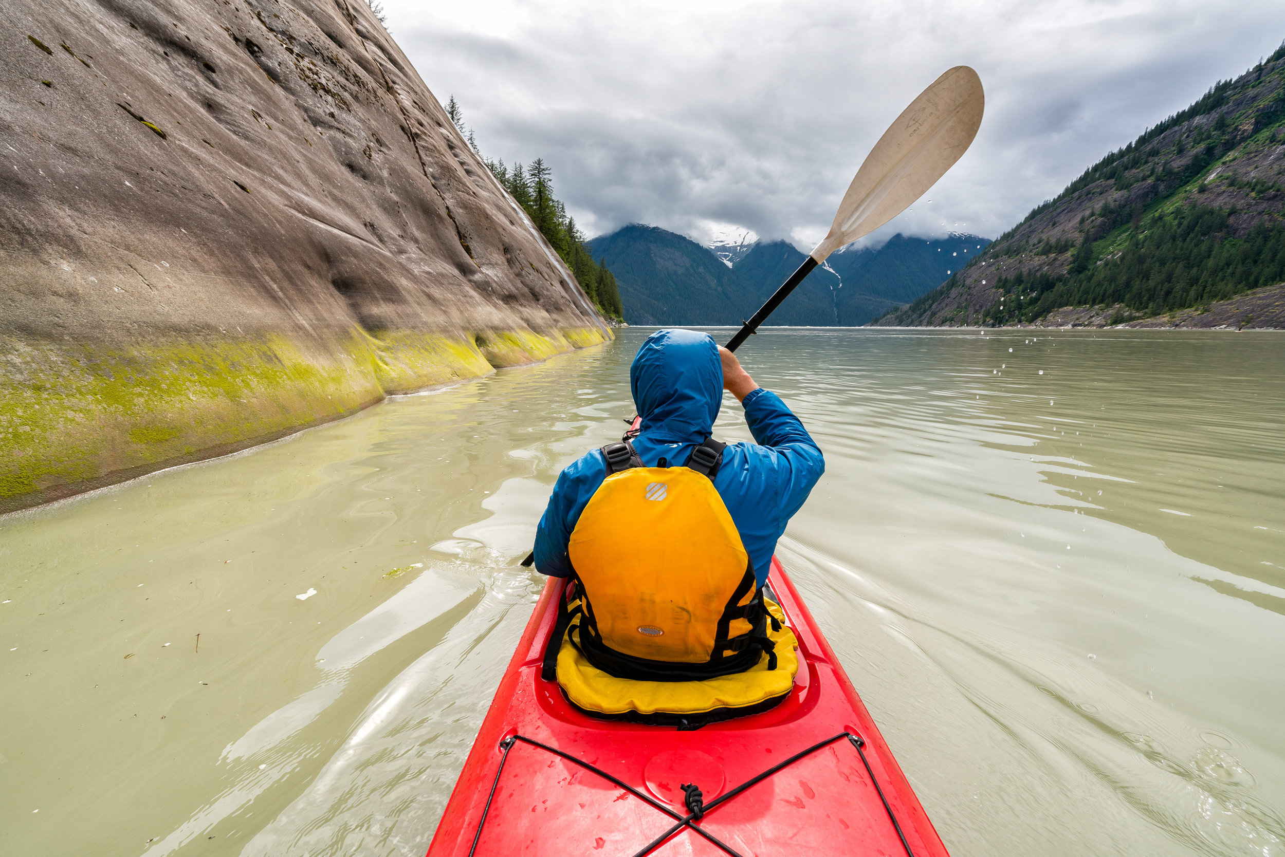 Adventure: Kayaking through Tracy Arm fjord in summer, Tongass National Forest, Alaska