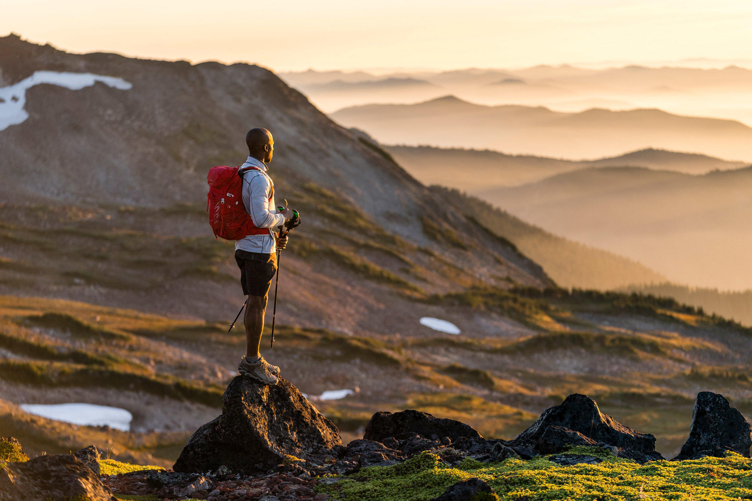 Adventure: Hiking at Mt. Rainier in summertime, Mt. Rainier National Park, Washington