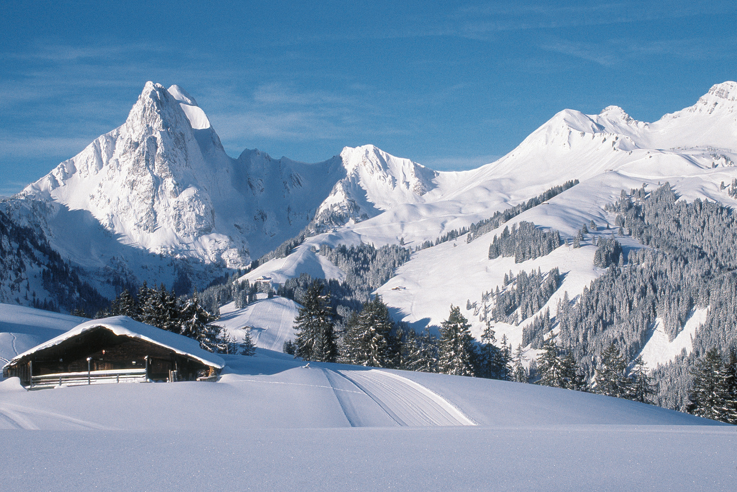 Skiing in Gstaad with the Gummfluh Mountain in the background (© Gstaad Saanenland Tourismus)