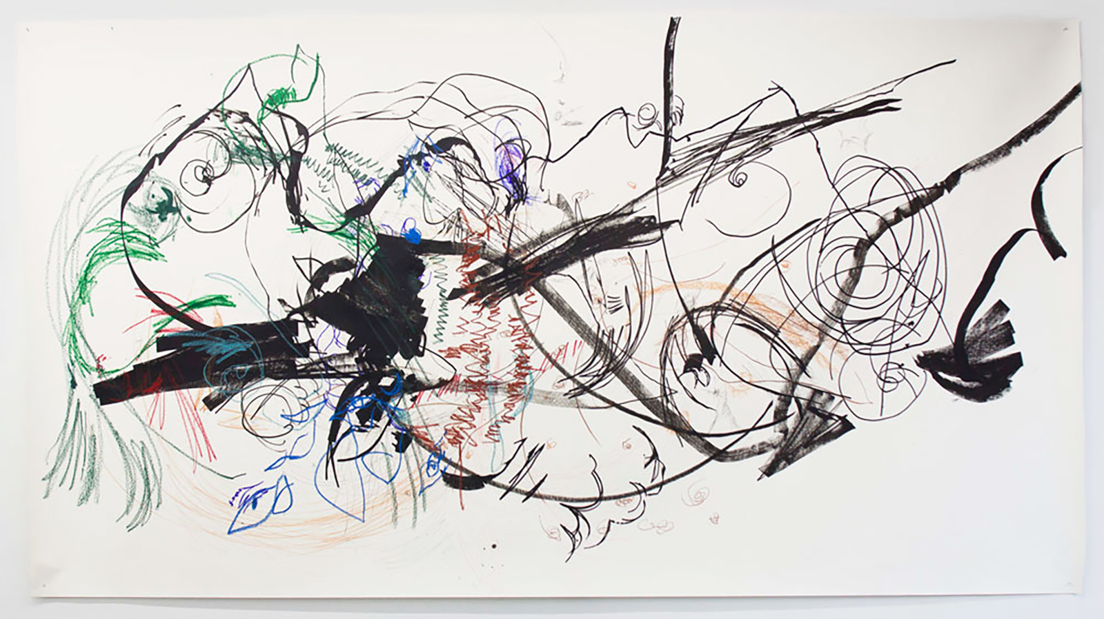 Carceri 1 , 2012.   Acrylic paint, charcoal, graphite, oil pastel, and ink on Japanese paper.   72 x 132 inches (182.88 x 335.28 cm)   © Lia Chavez