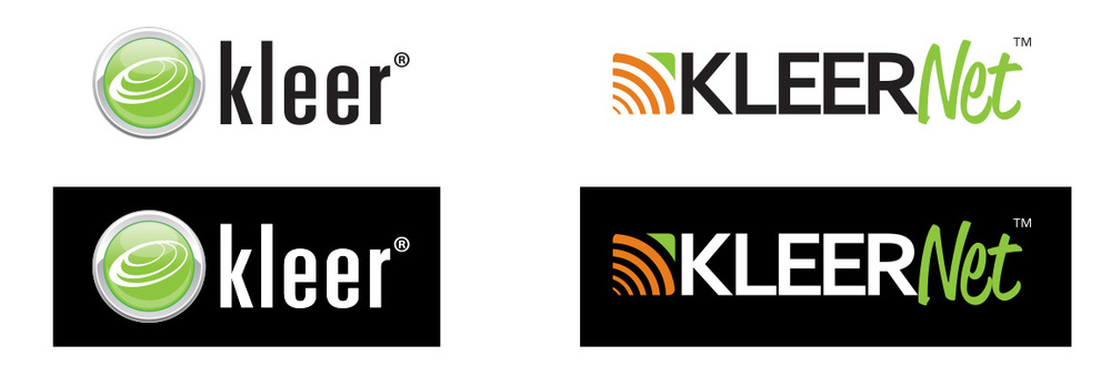 The original logo (left) had many problems with printing due to the four color process. Kleer wanted to update their product name and by updating their logo we corrected the above noted printing issues.