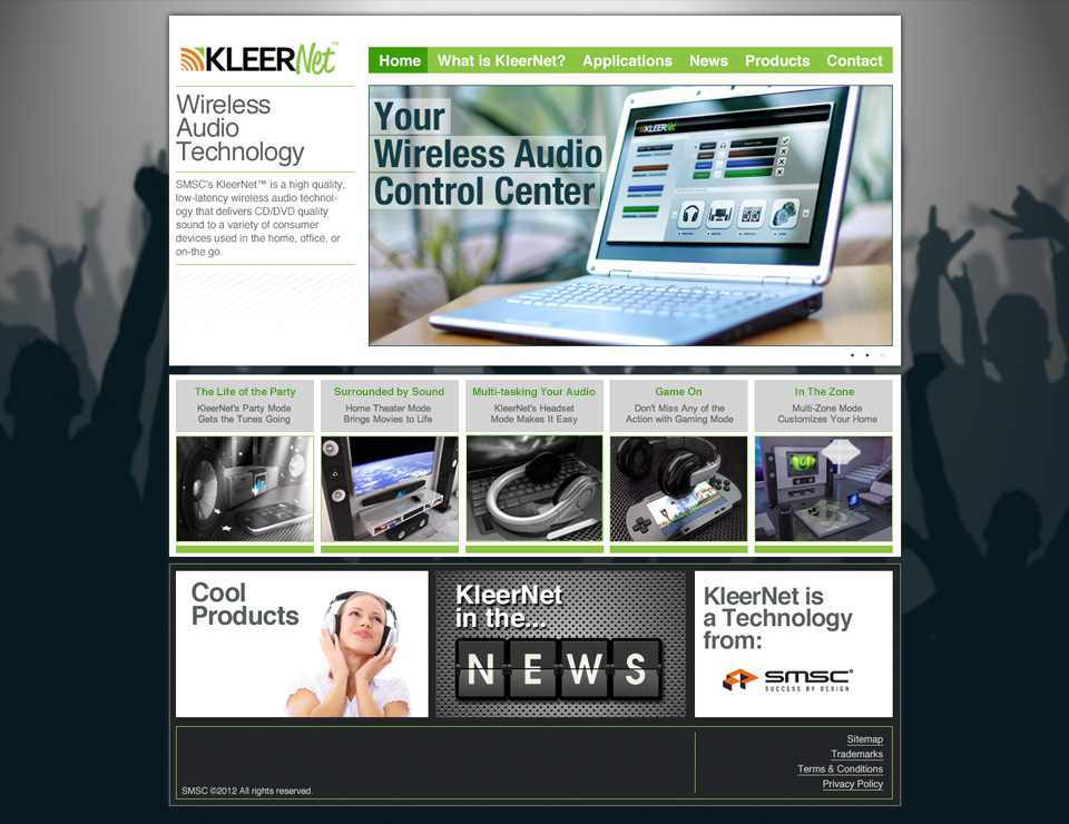 This was our solution. We added a simpler navigation, displayed an easy understanding of the technology and offered videos that were consumer friendly. For phase 2, we allocated three frames at the bottom to pull in social media content. KleerNet was acquired by another company and the solutions were merged with the buyers existing wireless product line.