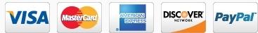 Visa Master Card American Express Discover PayPal