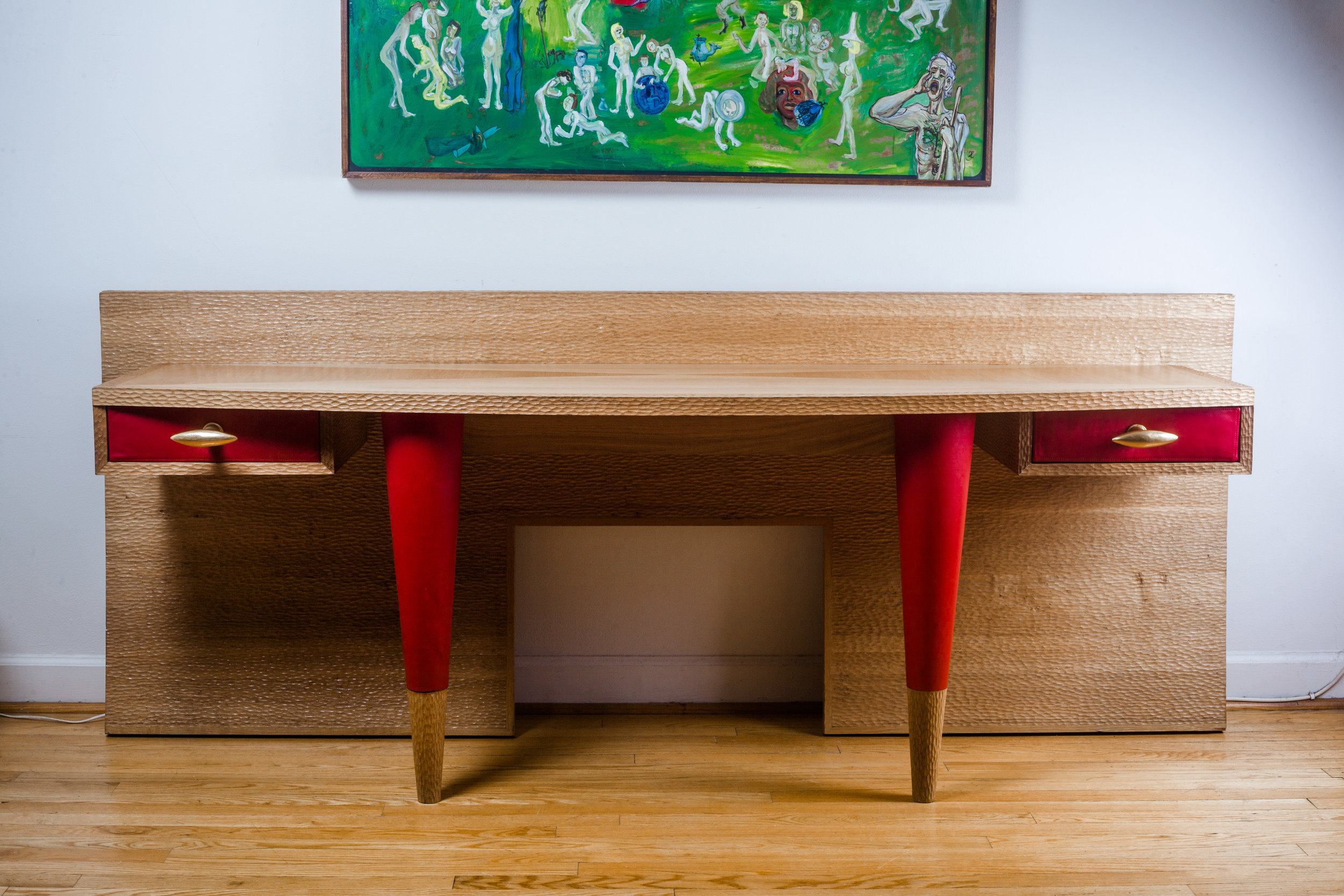 French Artist Desk Console in Wood and Leahter and Gilted Bronze