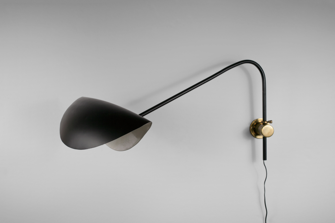 French Wall Arm Lamp in the Style of Serge Mouille, Black Painted Metal, France, 1950s