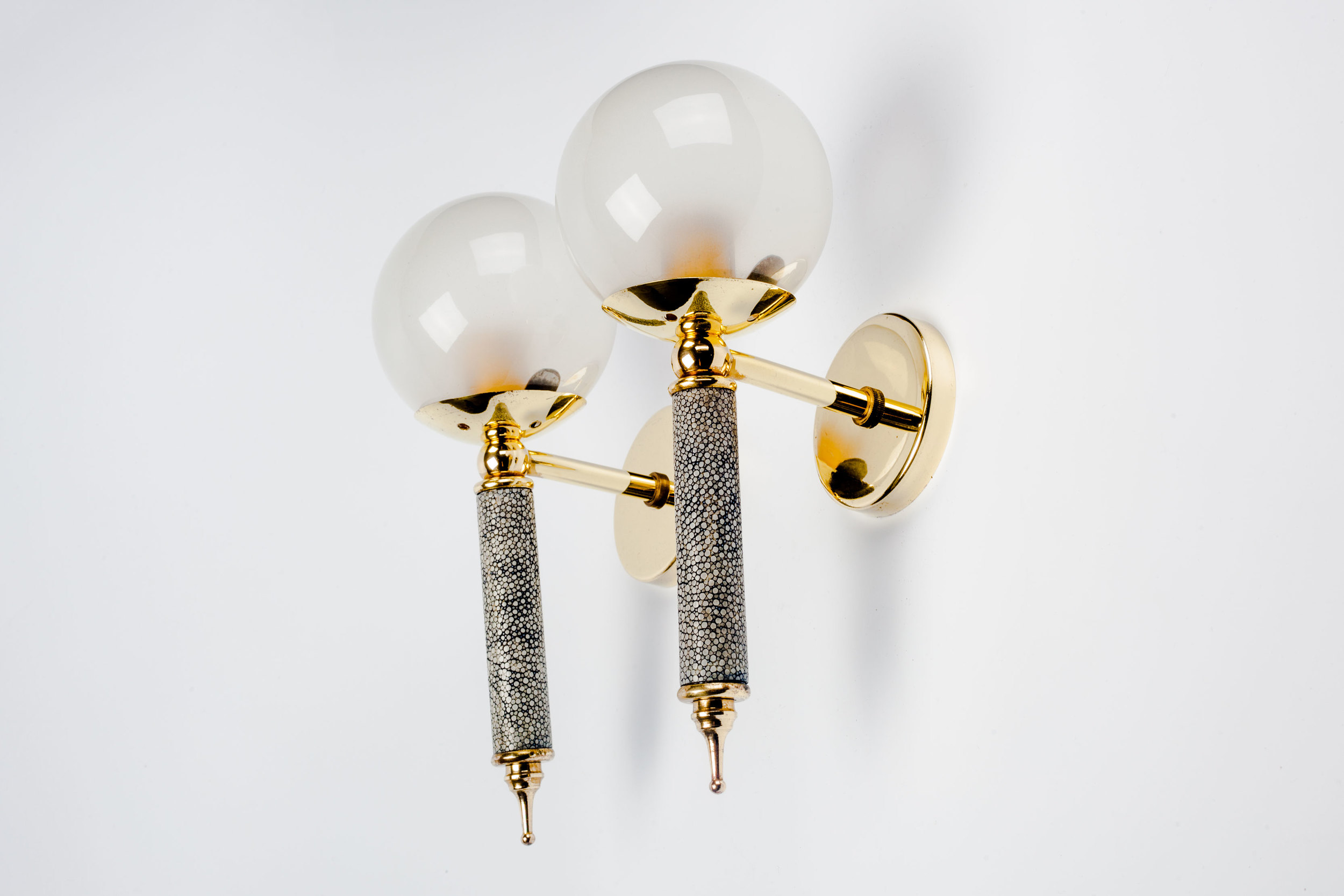 Sconces in Shagreen Glass and Brass, France 1950s