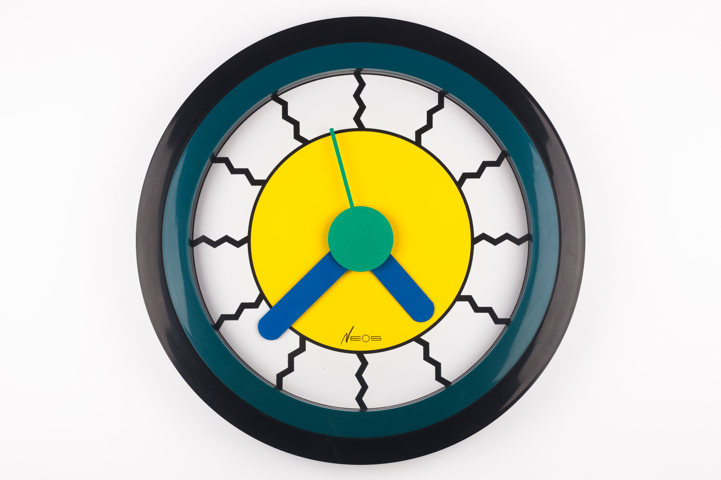 POSTMODERN WALL CLOCK YELLOW, BLUE, DU PASQUIER AND SOWDEN X NEOS, ITALY, 1980S
