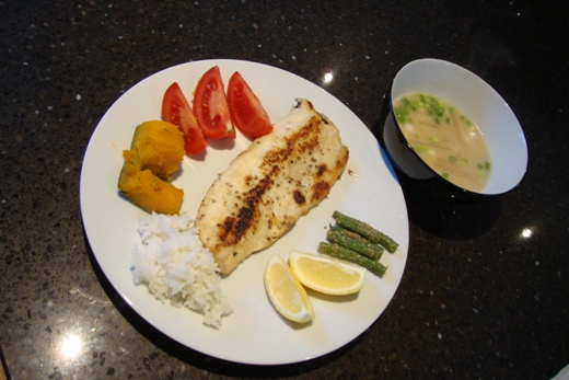 Nom nom fish, rice, and miso soup!