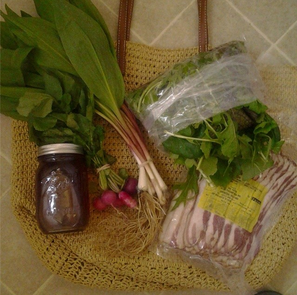 Second week of outdoor market: ramps, radishes, bacon, maple syrup, greens ($25--that syrup was $7 less than we'd pay at Kroger).