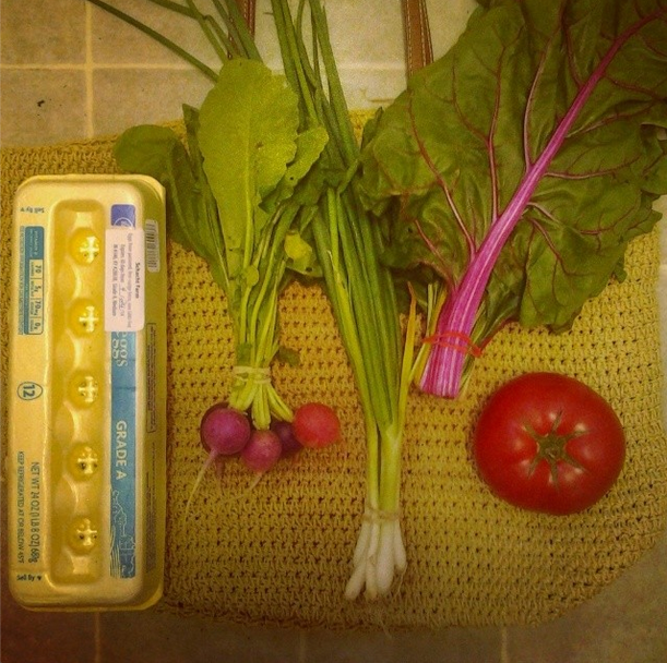Market this week: eggs, Swiss chard, radishes, tomato, and green onions. Not pictured: 3 tomato plants (black prince), 3 cucumber plants, and 4 marigolds. ($25)