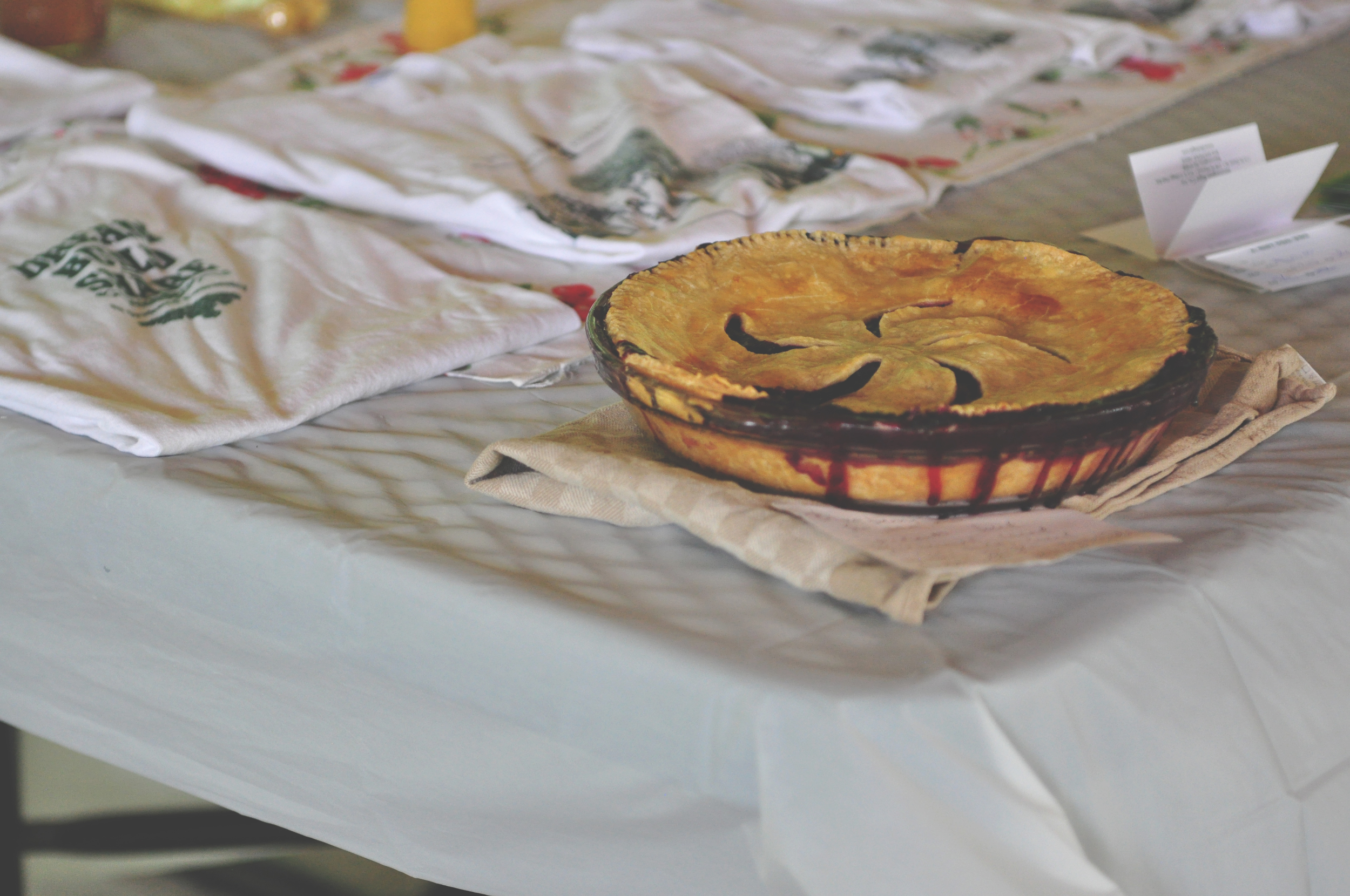 A homemade blueberry-peach pie was on hand for the winner of the haiku contest.
