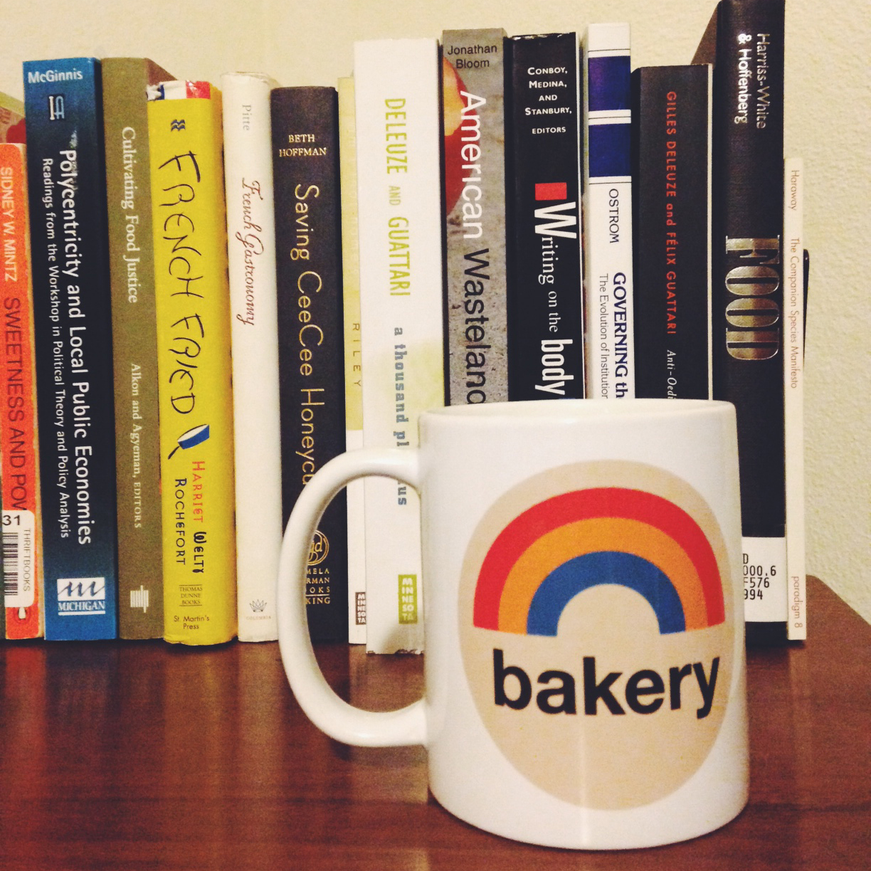 Joe got me this mug for my birthday--a bit of our favorite local business to keep at home, & a bit of rainbow optimism to keep my tip-tap-typing on my work.