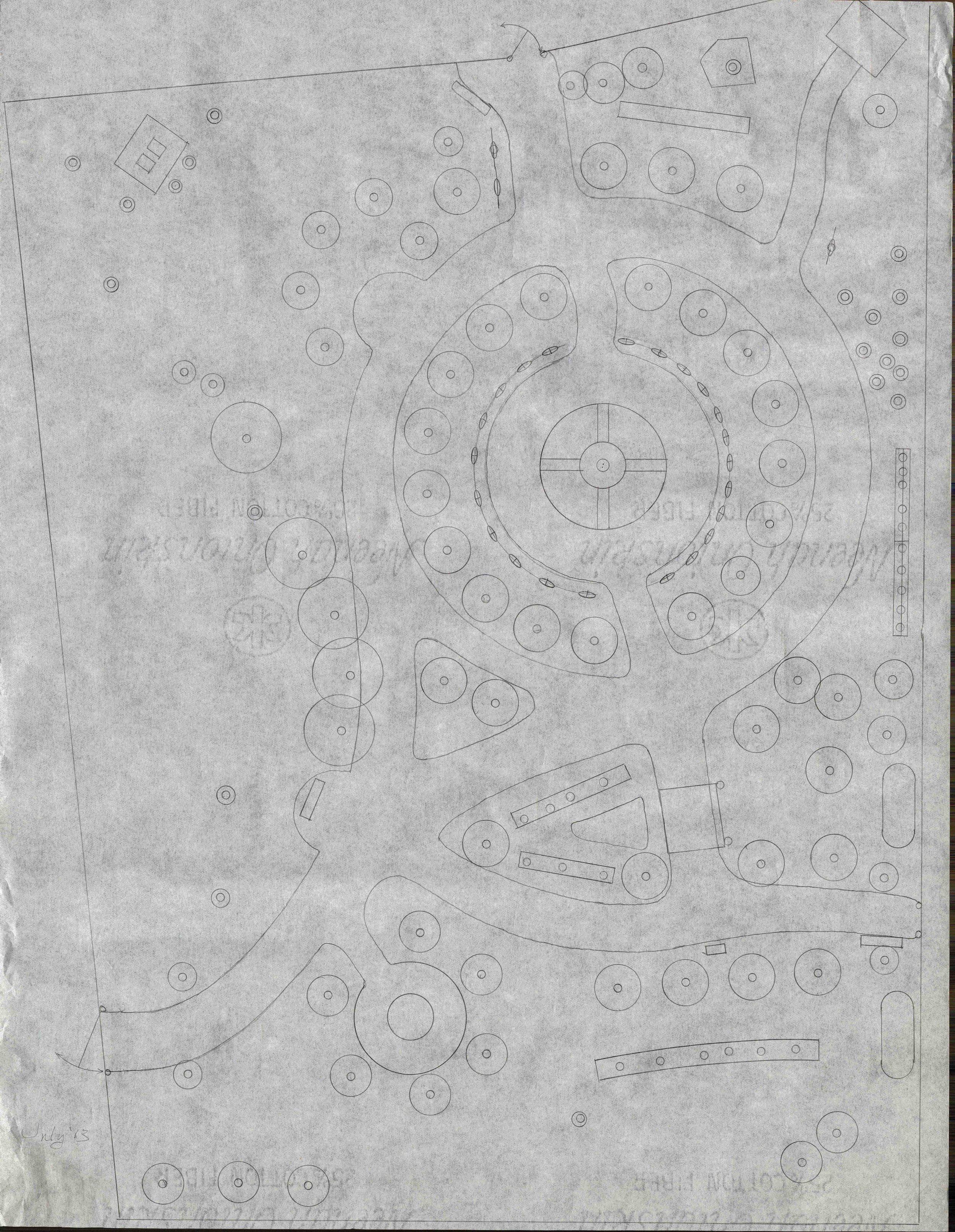 This tracing, done on tracing paper in pencil, shows a final, clean version of the map with minimal detail. This map, after some additional changes to the south end layout, is most likely to have served as a foundation for the graphic created by Larry and as a guide for early workdays and plantings.