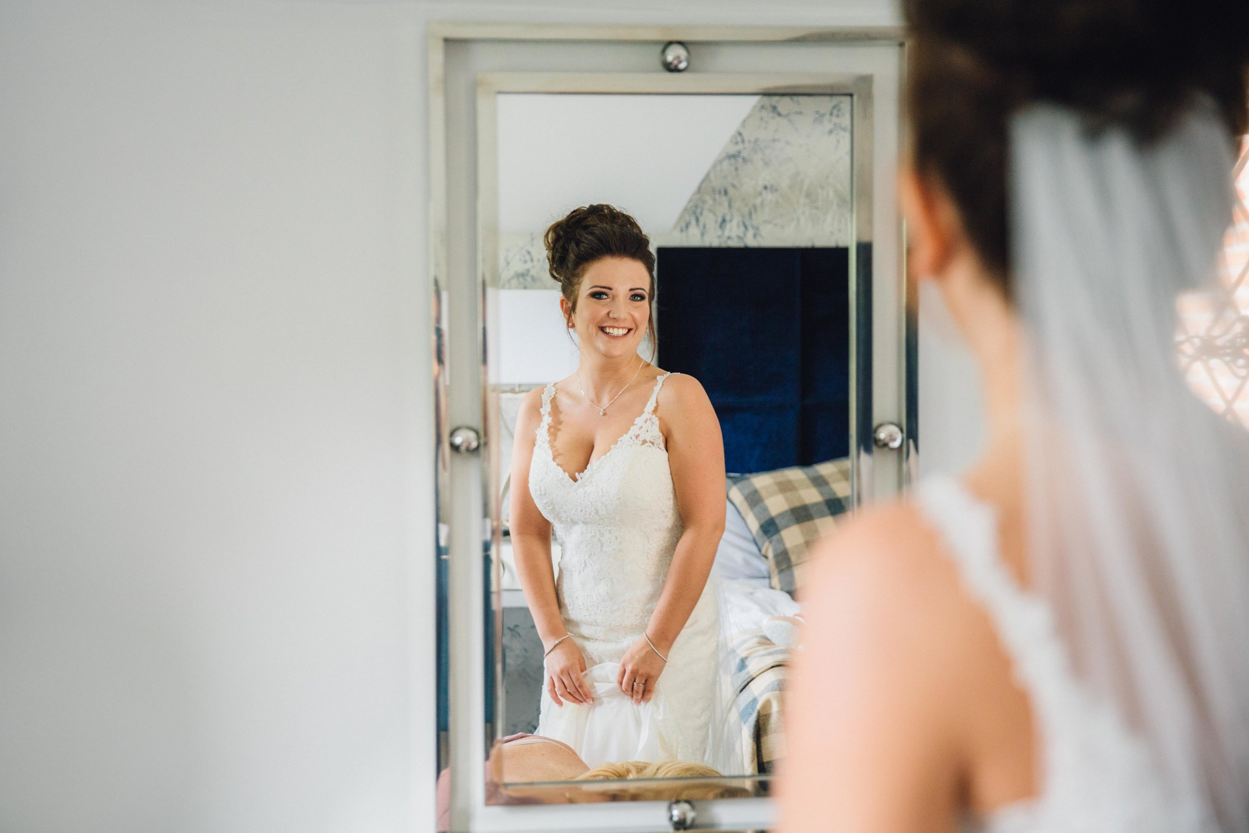"""Once Danielle's hair and make up was perfected she acknowledged her status as """"fittest bride ever"""" and all of a sudden her nerves turned to excitement."""