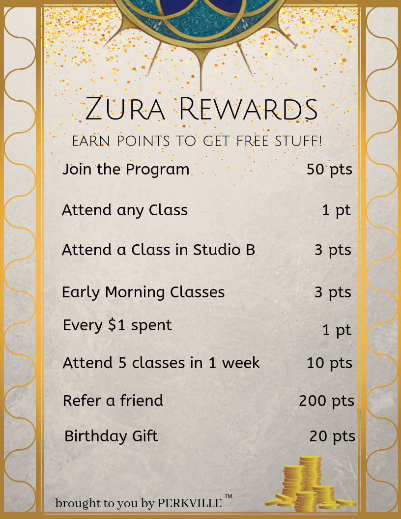 "Join our Rewards Program - Download the Zura App, login with your MindBody credentials, and click on the ""Perkville"" tab to enroll and start earning points!Points can be redeemed for free beverages, rentals, merchandise, and even classes!Click Here to download the App and get started! Or search in your app store for ""Zura Montclair"""