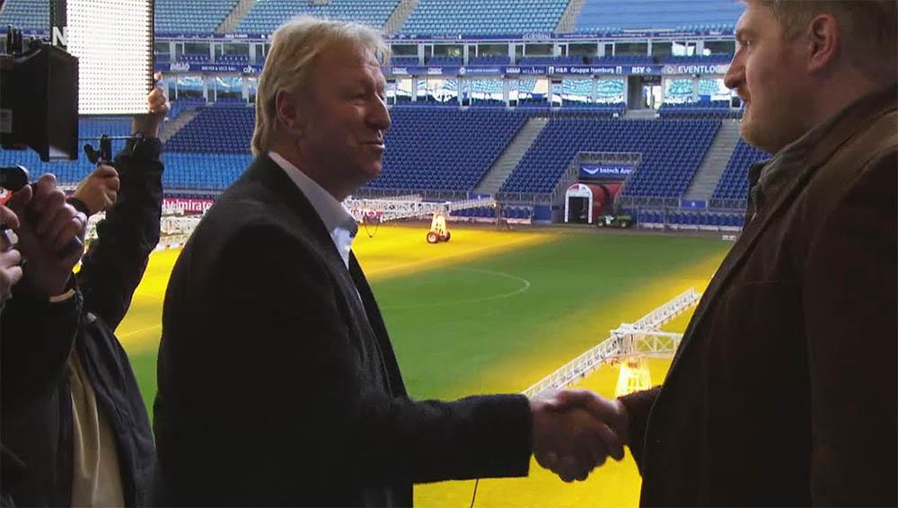 Bericht des NDR über die Dreharbeiten im HSV-Stadion mit Horst Hrubesch