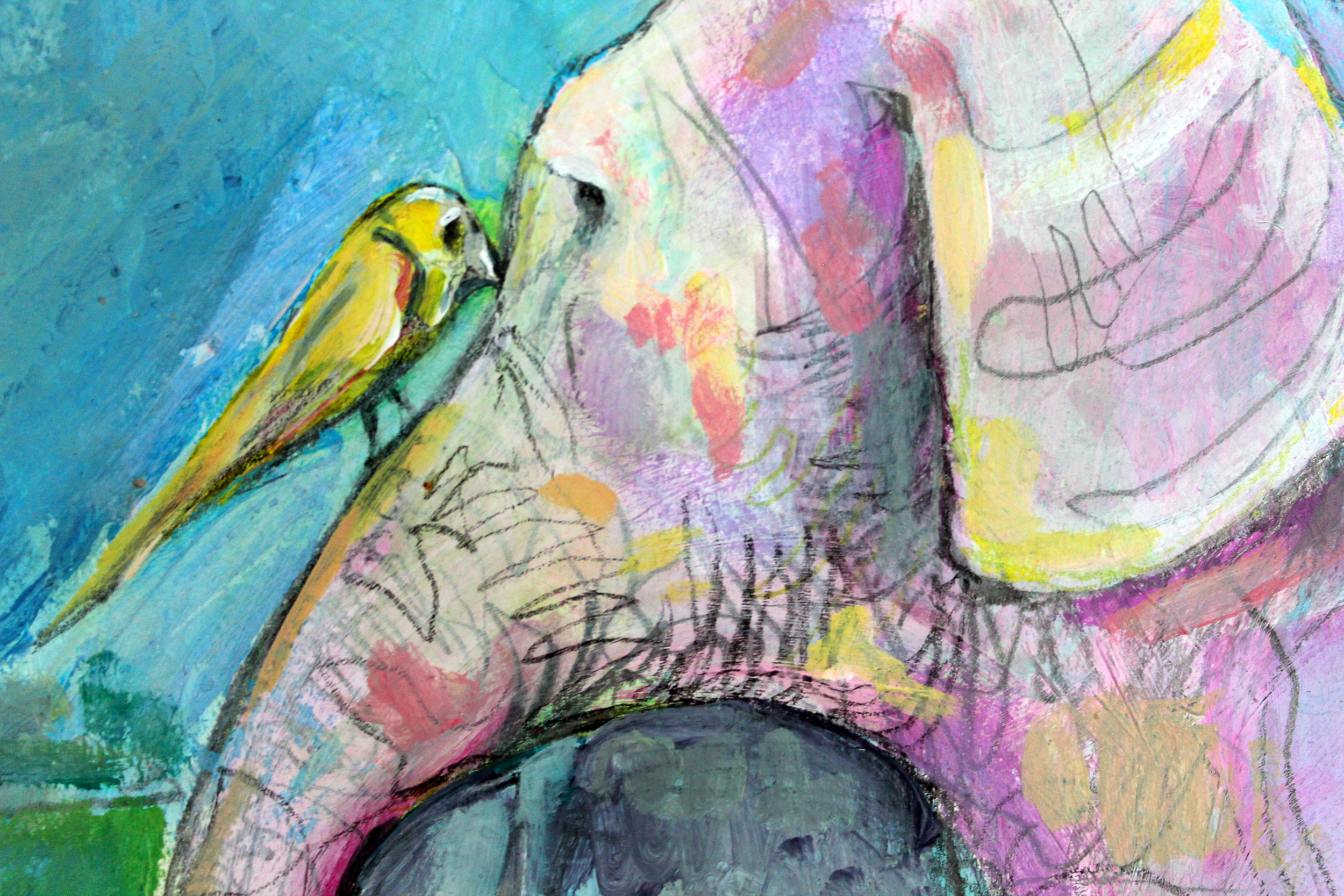 i asked we fly away.  i wait for the fat to fade and the feathers to grow. (detail)