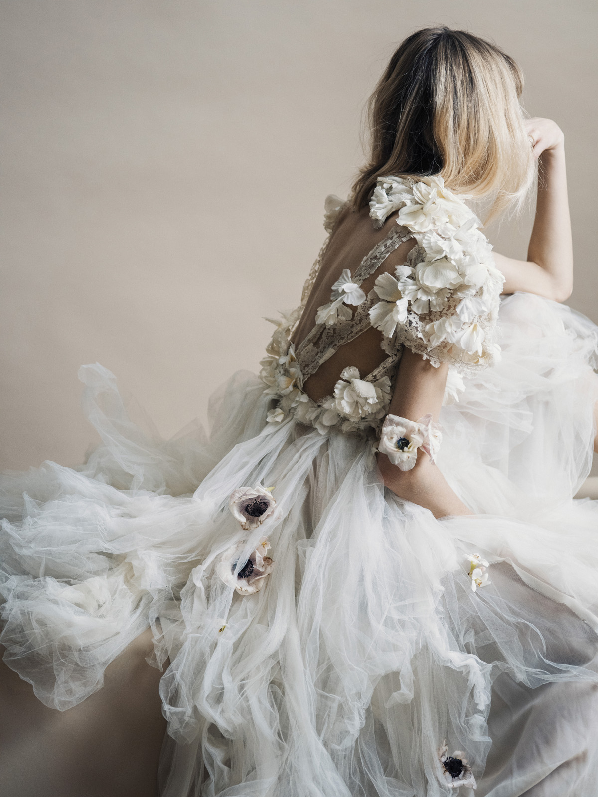 Ivory Flower Appliqué Gown