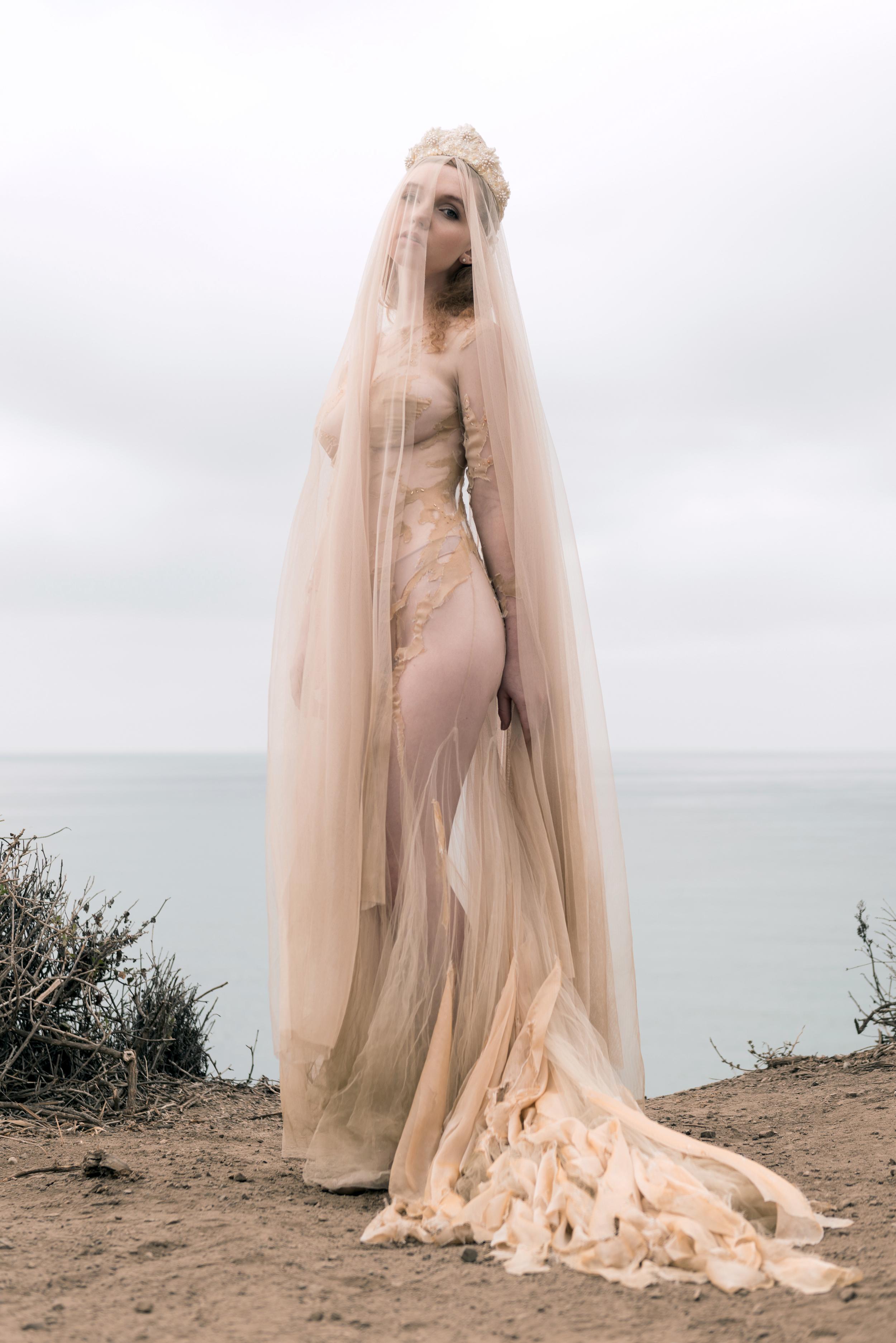 """Nude """"Metamorphosis"""" Gown & Veil"""