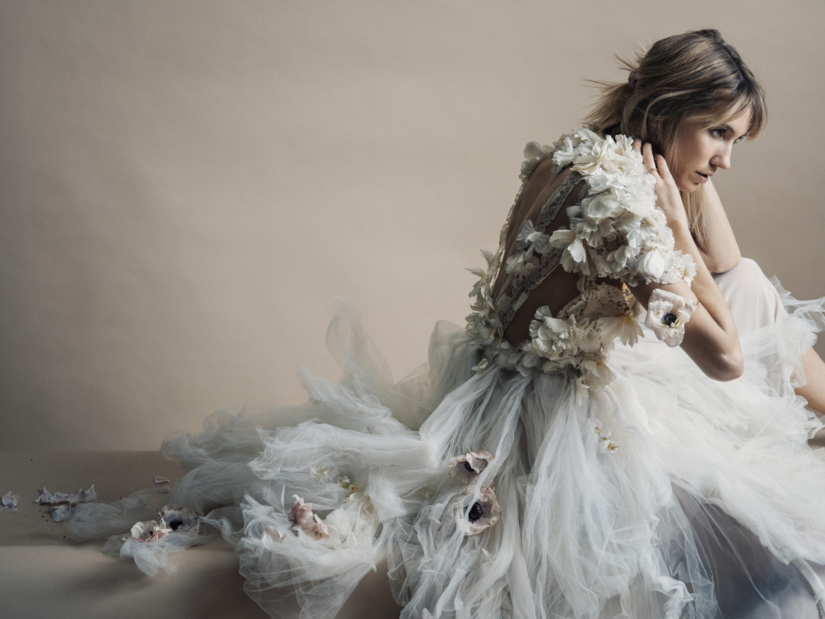 Michelle Hébert Ivory Flower Lily Gown | Photographed by Jamie Beck