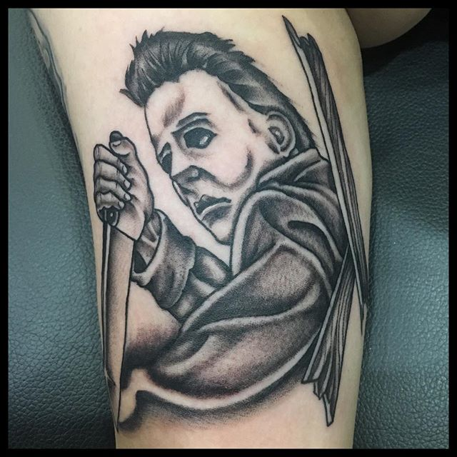 #theamericantradition by @rjhitchcock #sacramentotattoos #midtownsac #tatsacto #michaelmyers #michaelmyerstattoo