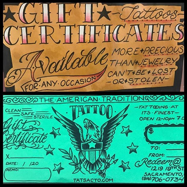 gift certificates available for the holidays. stop by today and grab some for your loved ones. | open every day from 12-10pm #theamericantradition #tatsacto