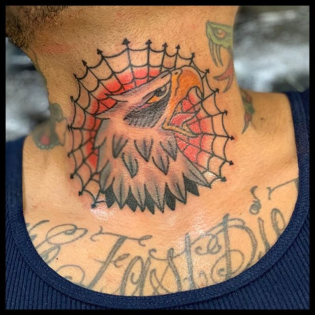 #theamericantradition by #ryantanton #sacramentotattoos #midtownsac #tatsacto #throattattoo #eagletattoo