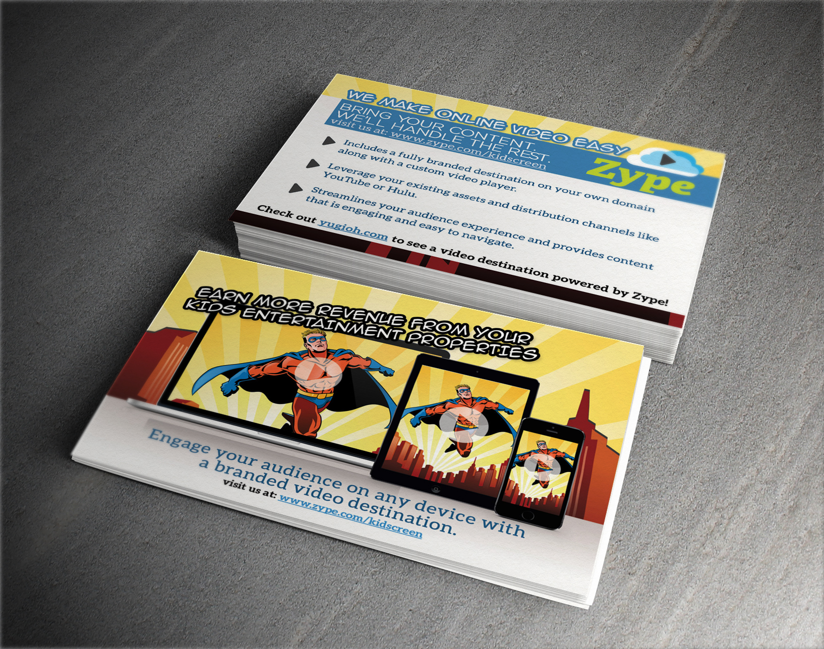 Postcard handout design for  Zype  - American based video platform business.