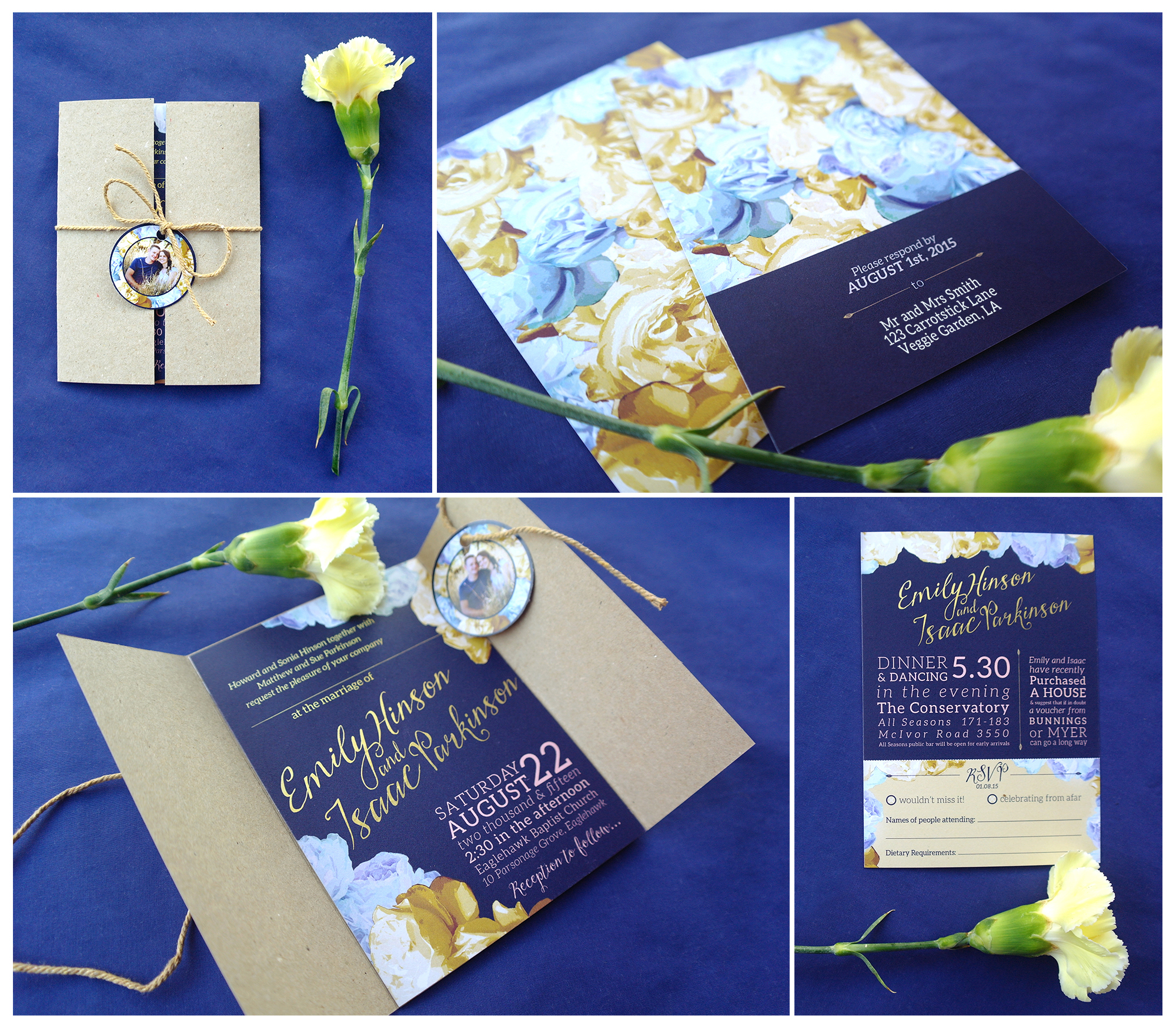 Wedding invitations - featuring personalised tags, perferated RSVP slip and pocket.