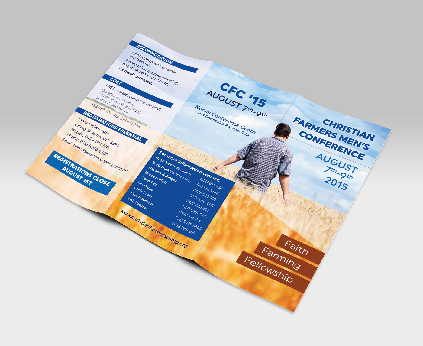 Bi-fold information brochure for Christians Farmers Men's Conference 2015.