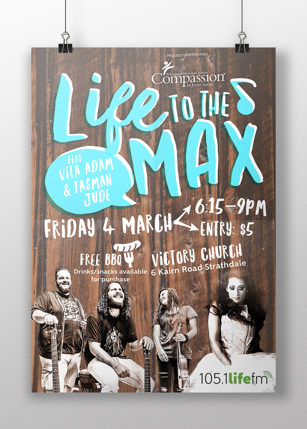 A3 poster design for Life FM's Life to the Max concert.