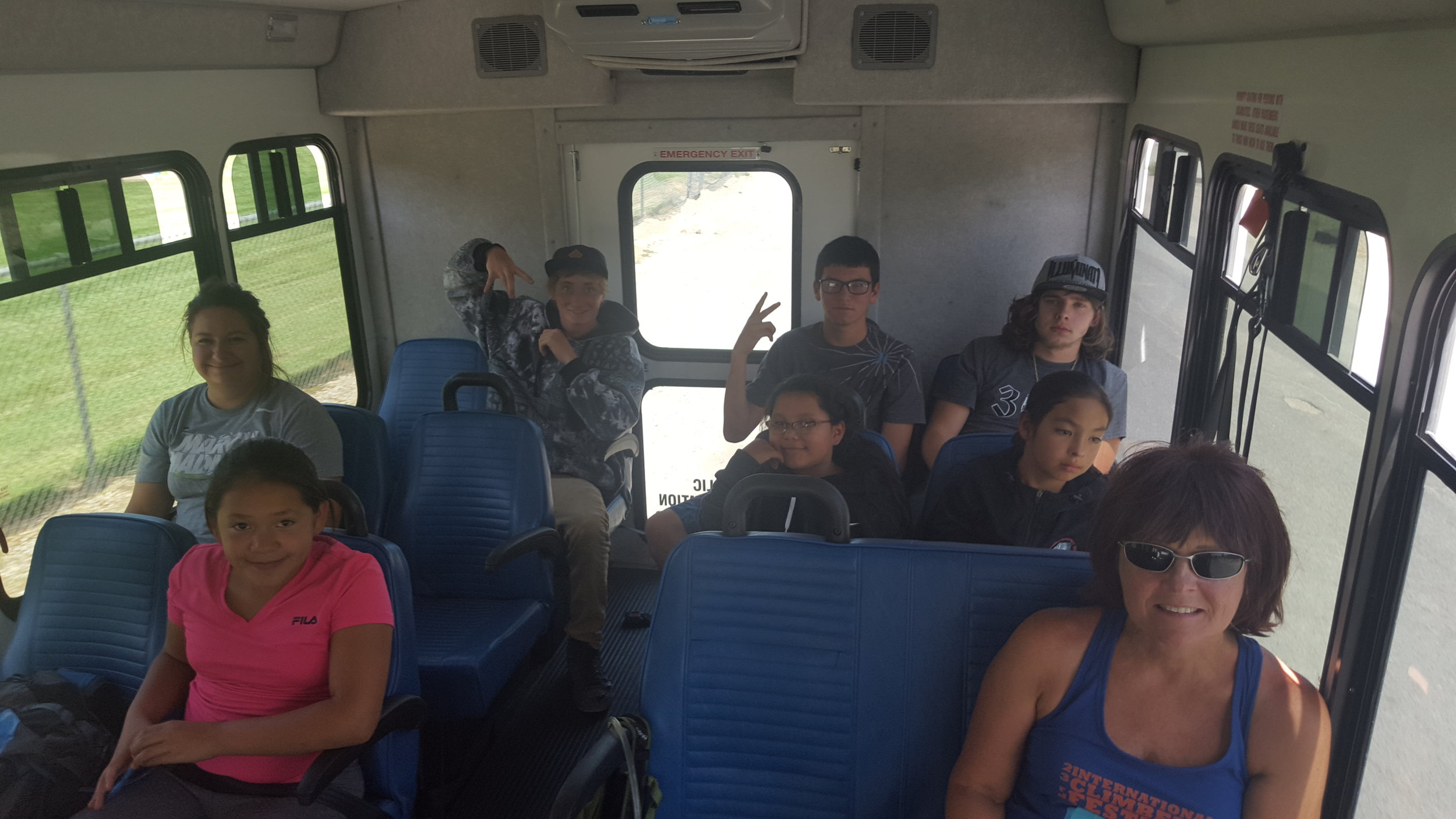 Photo: Emily Weldon. Lander, Riverton, and Wind River Indian Reservation youth on their way to their first climbing experience during the International Climbers Festival in 2016.