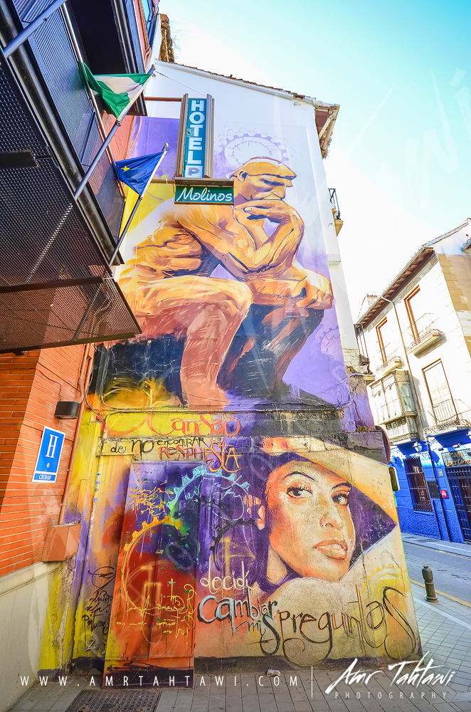Street artist Raúl Ruiz's depiction of Rodin's The Thinker.