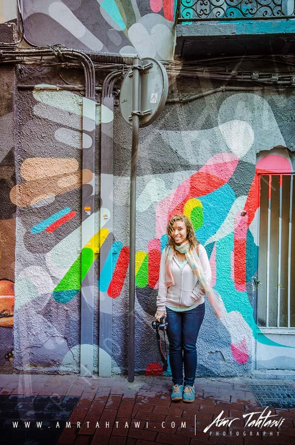 My Partner in Crime having fun in the rain with her fav wall - Zaragoza