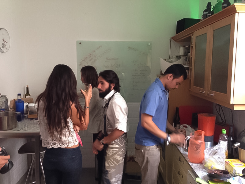 Exchaning info and getting to know each other while cooking