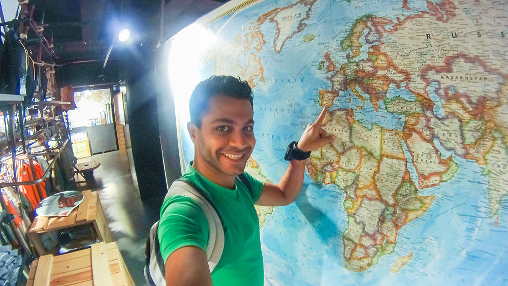 Inside National Geographic store - Madrid while checking our next stop (  Córdoba ) on the huge wall map.
