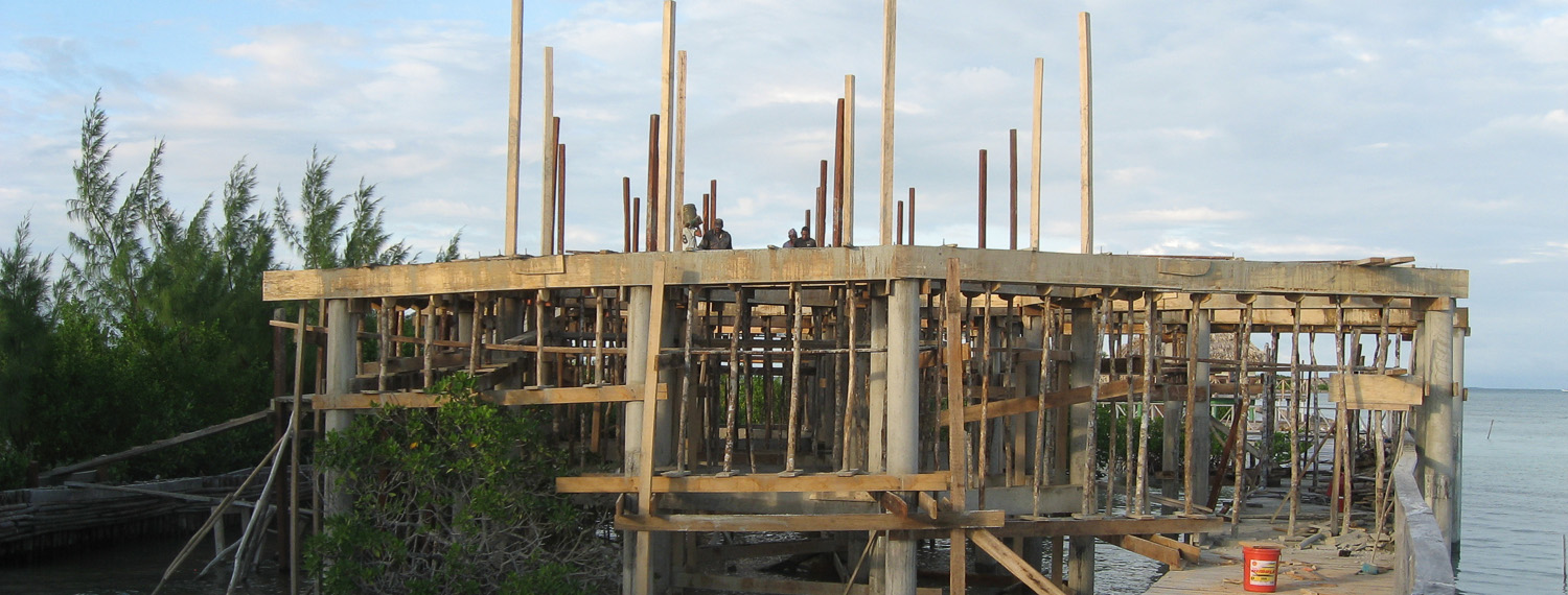 Building the family villa on stilts over the water