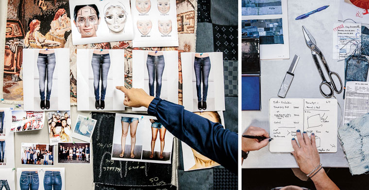"Left: Designers borrowed the cosmetics concept of ""contouring"" to make legs look skinnier. Right: Sights's desk at the San Francisco lab—and his indigo-stained fingernails."