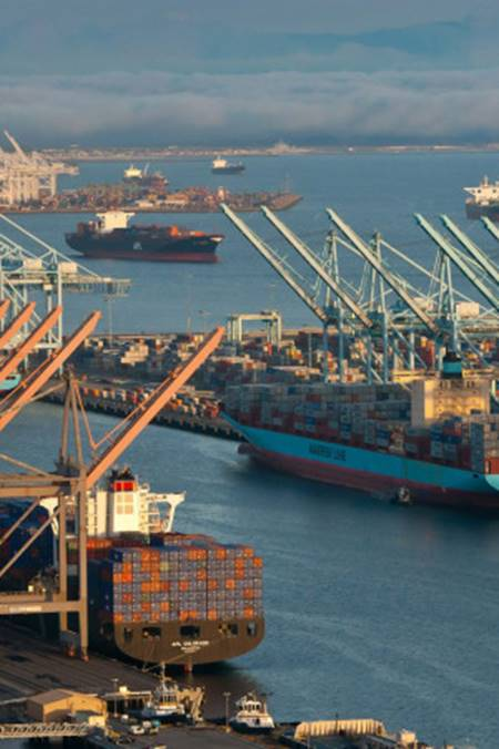 A labor dispute stalled cargo at the Port of Los Angeles last year. Tim Rue/Bloomberg via Getty Images