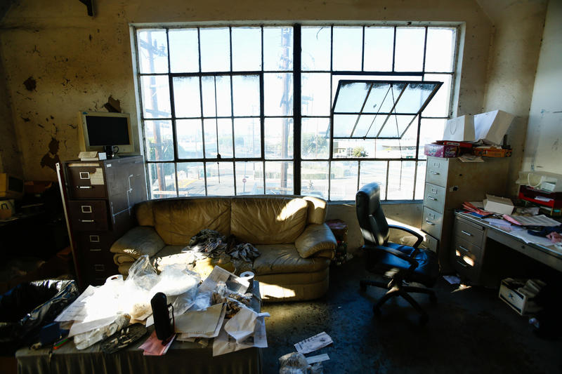 The interior of one of the offices at a sewing factory in downtown Los Angeles. The owner says he produces clothes for TJMaxx and cannot afford to pay workers the minimum wage. (Claire Hannah Collins / Los Angeles Times)