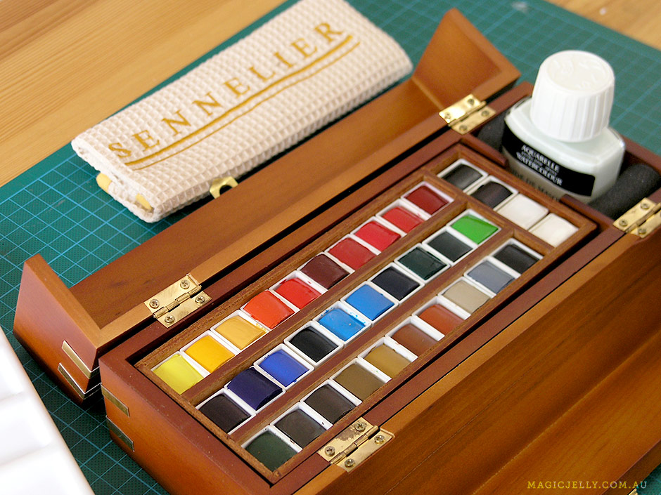 A lovely box of 34 Sennelier watercolour half pans with brushes, ceramic palette and masking fluid (a present from last Christmas!)