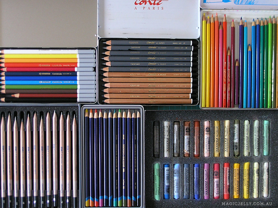 "A plethora of pencils! Clockwise from top left: set of 12 Stabilo pastel pencils, set of 12 Conté a Paris graphite and carbon pencils (which I didn't use until recently because they didn't fit into any of my pencil sharpeners!), set of 24 Staedtler ""Aquarell"" pencils (I also have a set of 42 Derwent watercolour pencils), set of 24 Winsor & Newton soft pastels (that I've barely used - not my favourite medium), set of 12 Derwent ""Inktense"" watercolour pencils, set of 12 Bruynzeel-Sakura ""Design"" graphite drawing pencils."