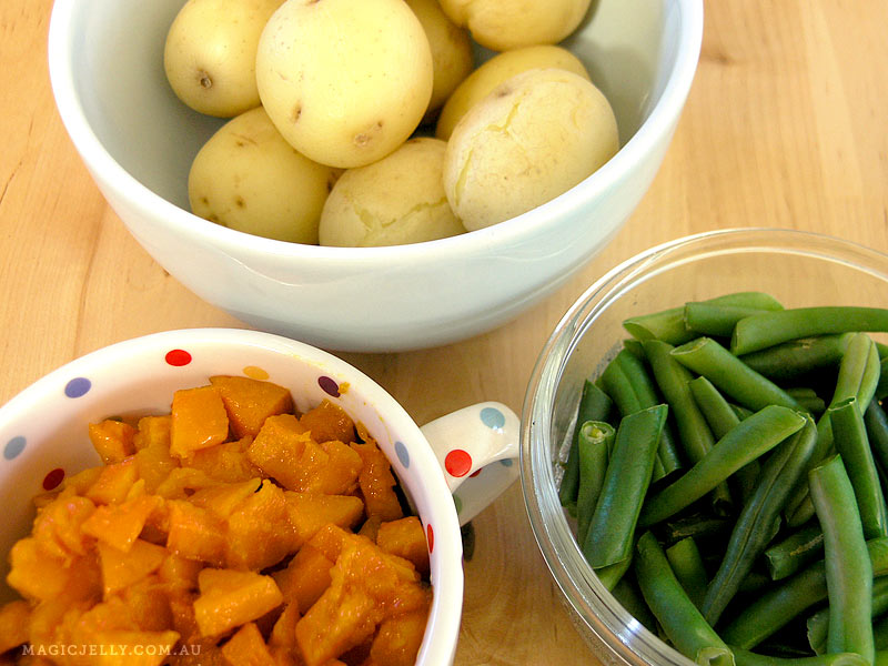 The cooked vegetables.