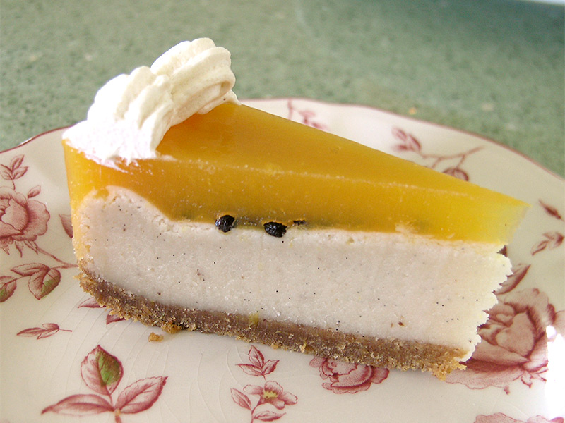 White Chocolate and Passionfruit Cheesecake.