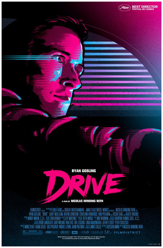Drive  movie poster designed by James White (Miami 80's Design Style)