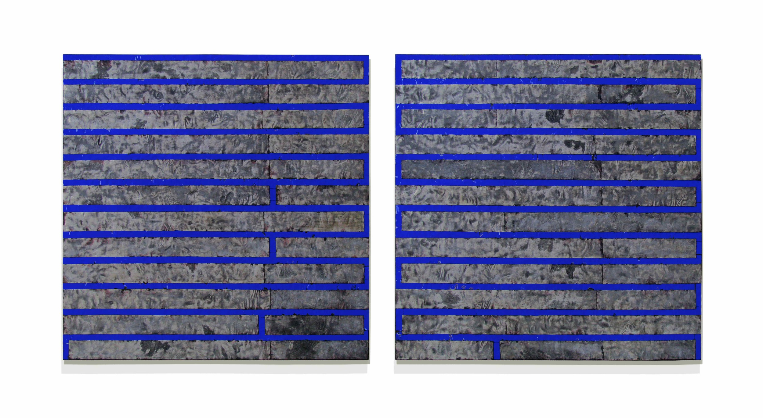 """Mono-related  48"""" x 96"""" x 2""""  Aluminum, stain, oil, wood"""