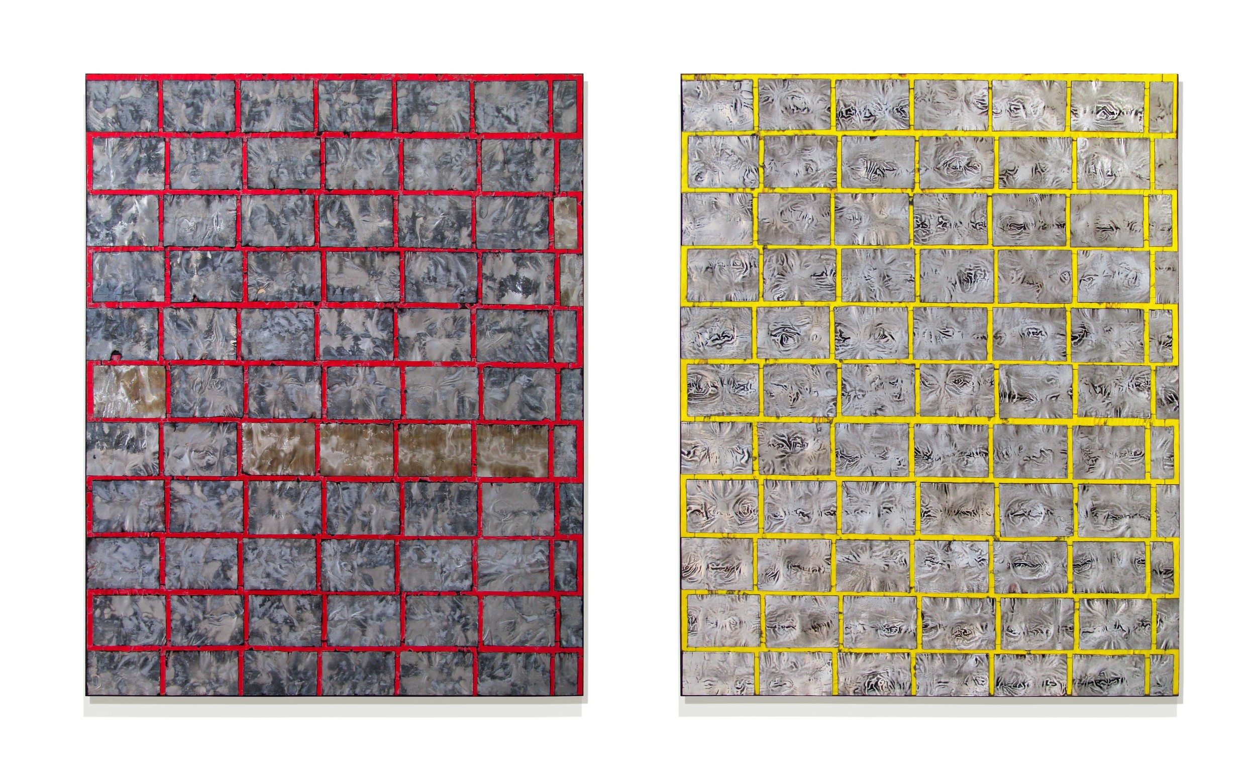 """Spatiotemporal  60"""" x 96"""" x 2""""  Aluminum, stain, oil, wood"""