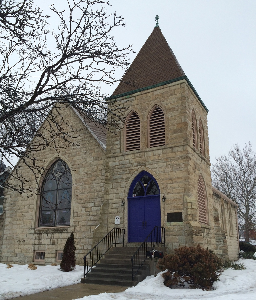 OLD STONE CHURCH:   14 S. Washington St.,   Downtown Naperville
