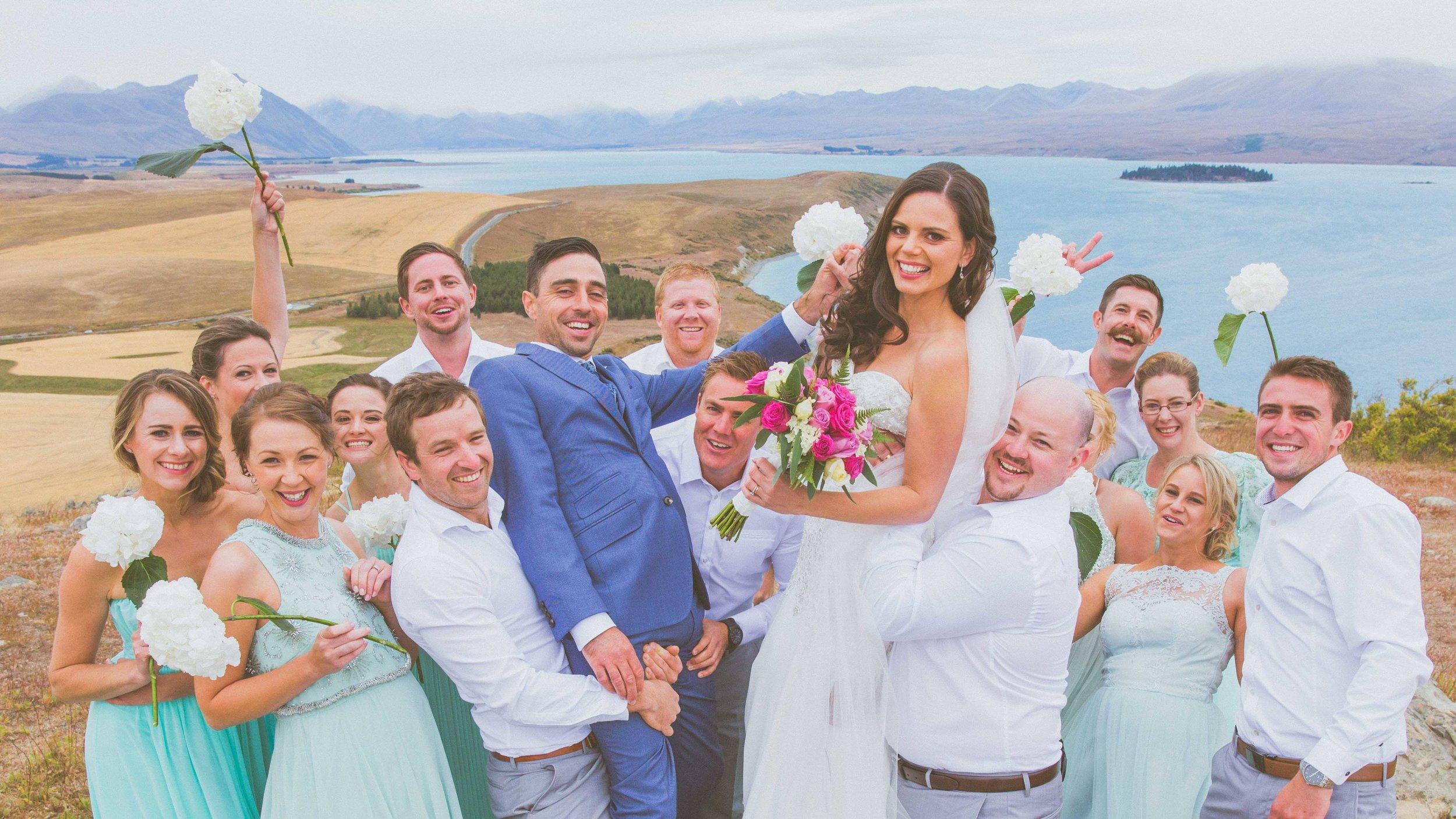 Wedding party Mt John Hitching Post